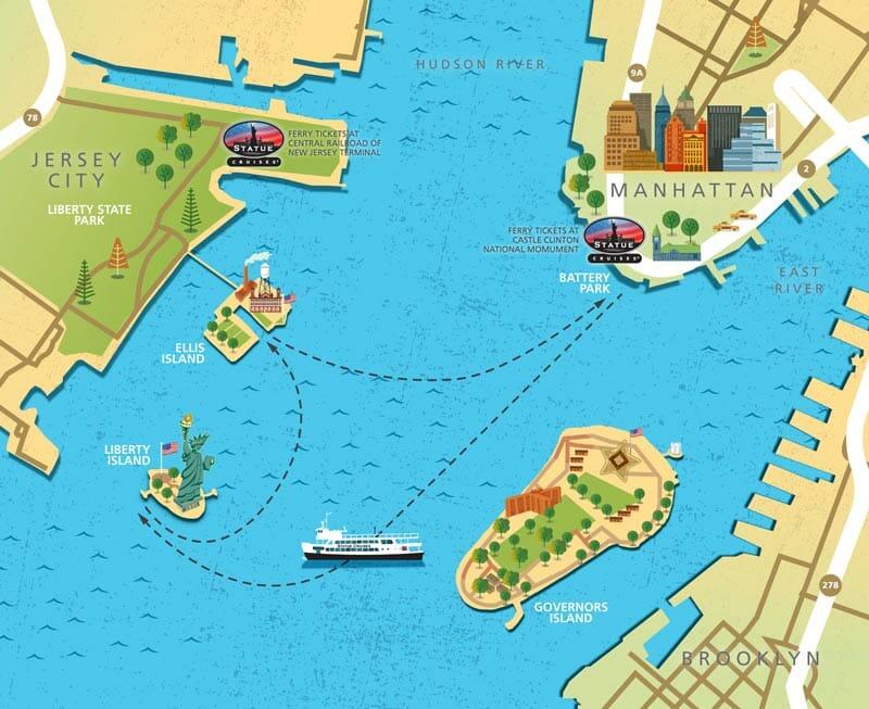 El ferry para visitar la Estatua de la Libertad - Battery Park y Liberty State Park