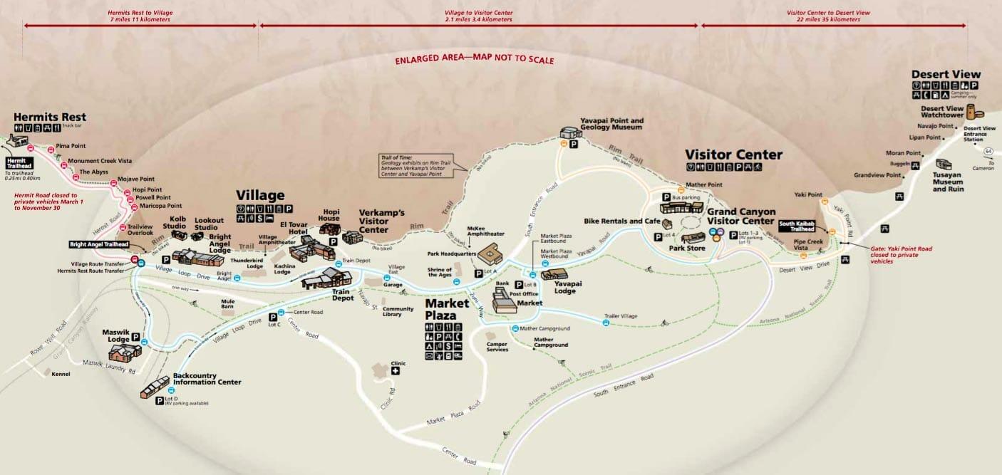 Visitar Grand Canyon Mapa South Rim