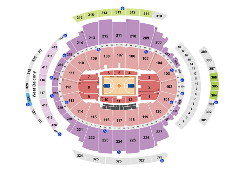 Tickets para los Knicks - Mapa asientos Madison Square Garden
