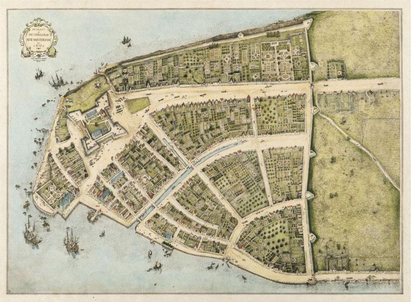 Mapa de Nueva Ámsterdam en 1660 con la muralla de Wall Street