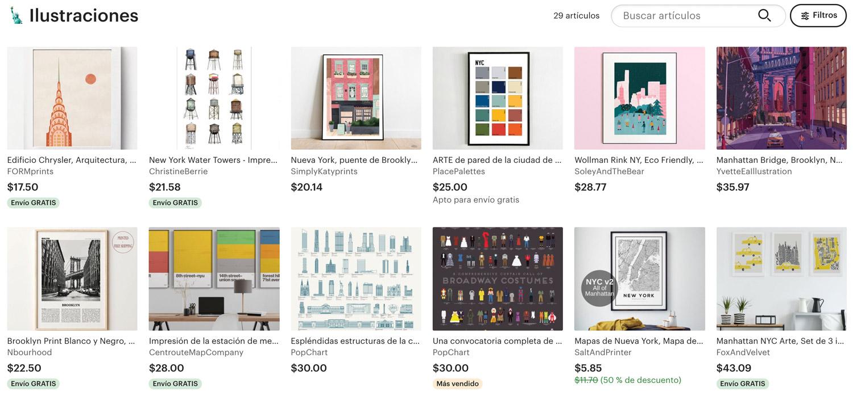 Comprar ilustraciones de Nueva York en Etsy